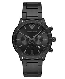 Emporio Armani Men's Chronograph Black Stainless Steel Bracelet Watch 43mm