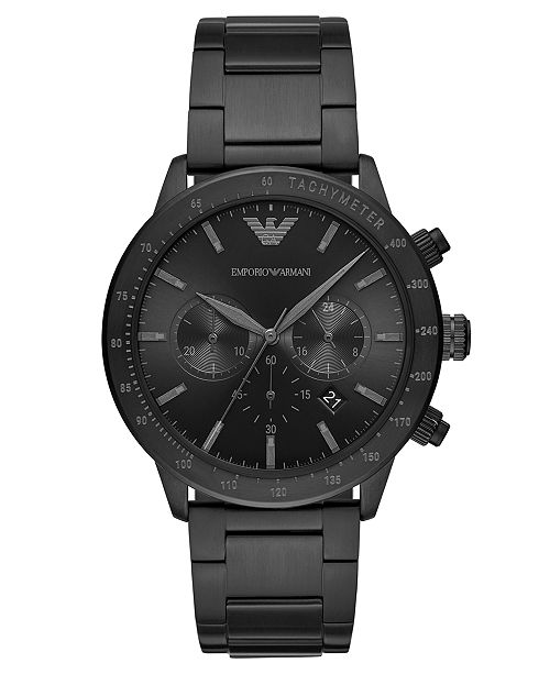 Emporio Armani Men's Chronograph Black Stainless Steel Bracelet Watch 43mm