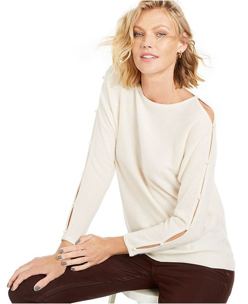 Charter Club Cashmere Split-Sleeve Sweater, Created for Macy's