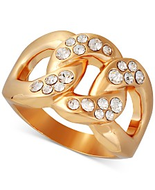 GUESS Gold-Tone Pavé Link Ring