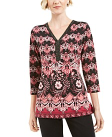 Embellisehd-Neck Printed Tunic Top, Created for Macys