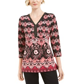 JM Collection Embellisehd-Neck Printed Tunic Top, Created for Macys