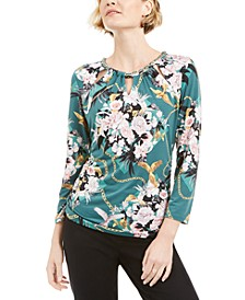 Petite Printed Chain-Neck Top, Created for Macy's