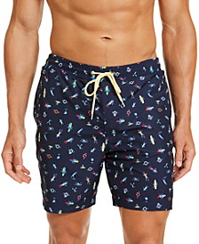 "Men's Classic-Fit Graphic-Print 7"" Twill Swim Trunks, Created for Macy's"