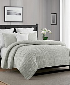 Enzyme Washed Crinkle Quilt Coverlet Set - King/Cal King
