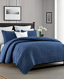 Enzyme Washed Crinkle Quilt Coverlet Set - Twin/Twin XL
