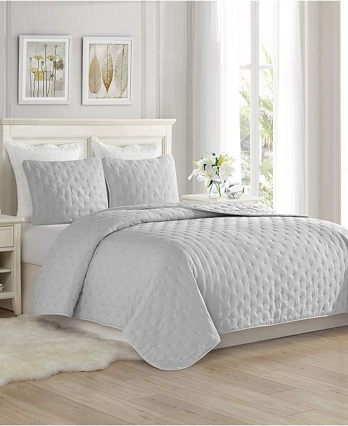 Super Soft Dot Embroidery Quilt Coverlet Set King Cal King