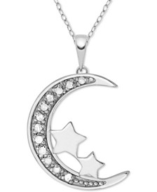 "Diamond (1/10 ct. t.w.) Moon & Stars 18"" Pendant Necklace in Sterling Silver"
