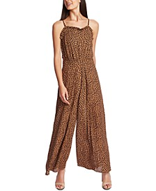 Ruffled Leopard-Print Jumpsuit