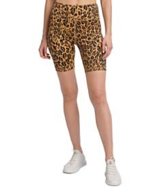 DKNY Sport Leopard-Print High-Waist Bike Shorts