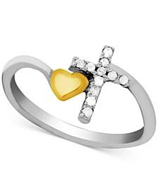 Diamond (1/10 ct. t.w.) Cross & Heart Ring in Two-Tone Sterling Silver
