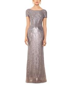 Betsy & Adam Petite Sequin Gown