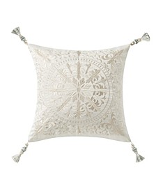 "Daphne 18"" X 18"" Embroidered Square Decorative Pillow"