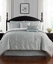 Waterford Landon Aqua Reversible Queen 4 Piece Comforter Set