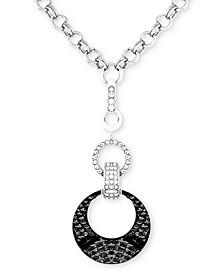 "Silver-Tone Crystal & Faux-Lizard-Print Animal Print Pendant Necklace, 30-1/2"" + 2"" extender"