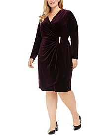 Plus Size Velvet Wrap Sheath Dress