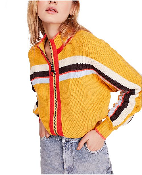 Free People Ready Set Go Zip Up Sweater