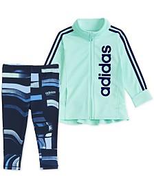 adidas Toddler Girls 2-Pc. Zip-Up Jacket & Printed Tights Set
