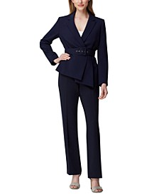 Asymmetrical Belted Jacket & Straight-Leg Pants
