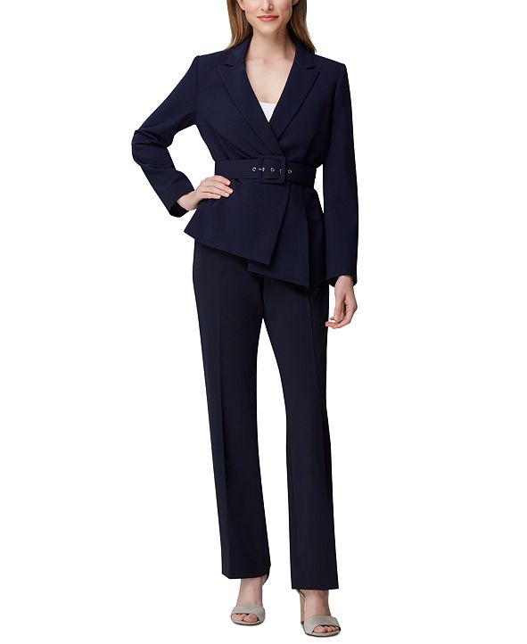 Tahari ASL Petite Belted Asymmetrical Blazer & Slim-Leg Pants