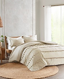 Madison Park Leona 3-Pc. Pom Pom Cotton Comforter Set