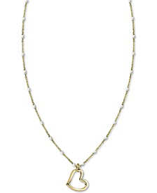"White Beaded Chain Heart 18"" Pendant Necklace in Gold-Plate Over Sterling Silver"