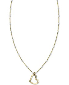 "Argento Vivo White Beaded Chain Heart 18"" Pendant Necklace in Gold-Plate Over Sterling Silver"