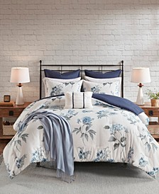 Zennia Full/Queen 7-Pc. Printed Seersucker Comforter Set with Throw Blanket