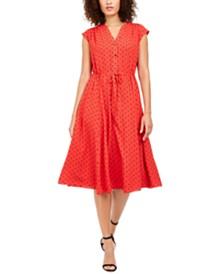 Anne Klein Dot-Print Drawstring-Waist Dress