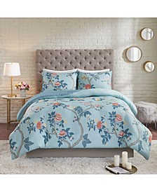 CLOSEOUT! Charleston Garden Full/Queen 3-Pc. Reversible Printed Seersucker Duvet Cover Set