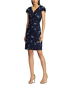 Floral-Print Flutter-Sleeve Jersey Dress, Regular & Petite Sizes