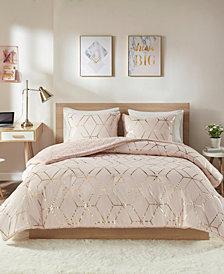 Intelligent Design Ainsley Full/Queen 3 Piece Metallic Print Reversible Comforter Set