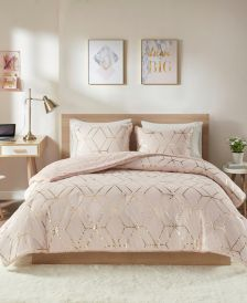 Ainsley Full/Queen 3 Piece Metallic Print Reversible Comforter Set
