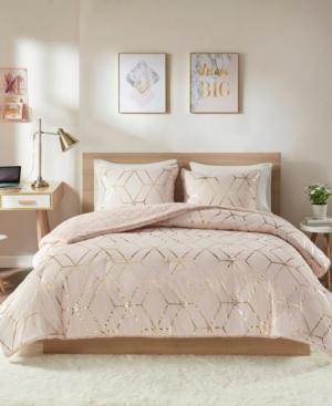 Intelligent Design Ainsley Full/Queen 3 Piece Metallic Print Reversible Comforter Set Bedding