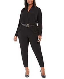 Plus Size Surplice-Neck Belted Jumpsuit