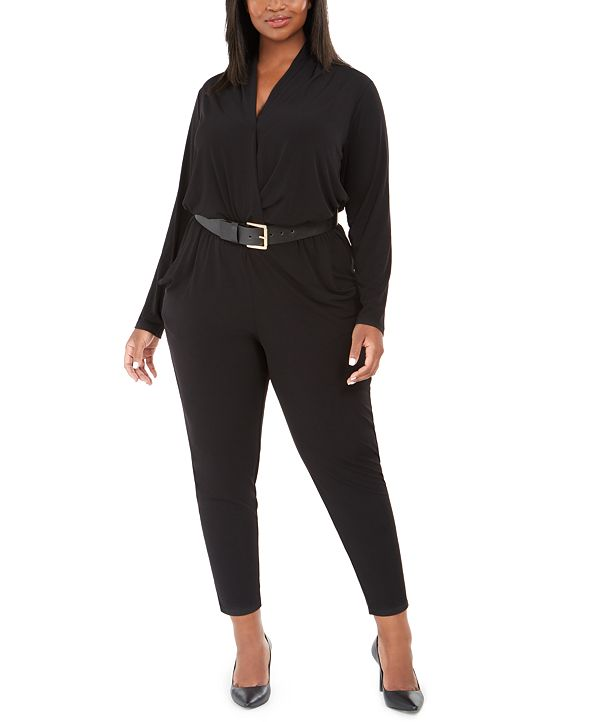 Michael Kors Plus Size Surplice-Neck Belted Jumpsuit