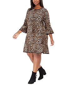 Plus Size Cheetah-Print Bell-Sleeve Dress