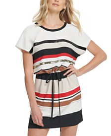 DKNY Striped Tie-Front Dress
