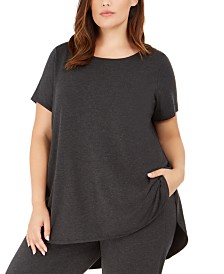 Eileen Fisher Plus Size Boat-Neck High-Low Top