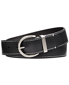 Flat-Strap Leather Belt with Stitching