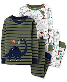 Toddler Boys 4-Pc. Cotton Dinosaur Pajamas Set
