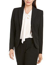 Pinstriped One-Button Blazer