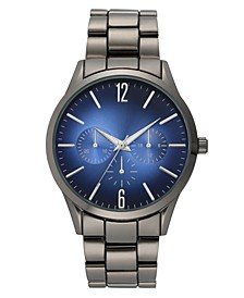 INC Men's Gunmetal-Tone Blue Bracelet Watch 42.5mm, Created for Macy's