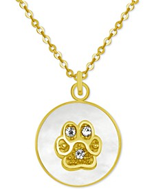 """Gold-Tone Crystal Paw Print Mother-of-Pearl 18"""" Pendant Necklace"""