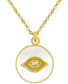 "PIXIE POSEY Gold-Tone Crystal Evil Eye 18"" Pendant Necklace"
