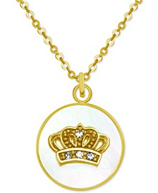 "Gold-Tone Crystal Crown Mother-of-Pearl 18"" Pendant Necklace"