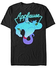 Disney Men's Aladdin Genie Applause Neon Light Short Sleeve T-Shirt