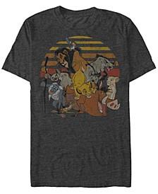 Disney Men's Group Sunset Stripe Vintage Short Sleeve T-Shirt