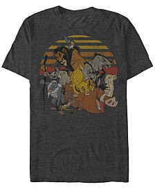 Disney Men's Lion King Group Sunset Stripe Vintage Short Sleeve T-Shirt