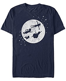 Disney Men's Peter Pan Darling Kids Flying Moon Silhouette Short Sleeve T-Shirt